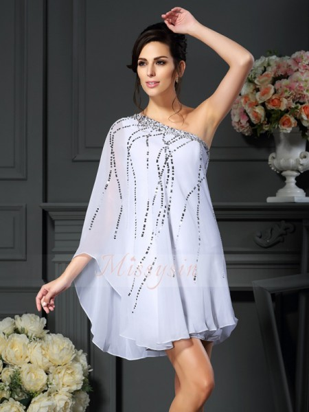 A-Line/Princess One-Shoulder Chiffon Short/Mini Sequin Sleeveless Mother Of The Bride Dresses