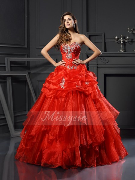 Ball Gown Sweetheart Tulle Floor-Length Beading Sleeveless Dress