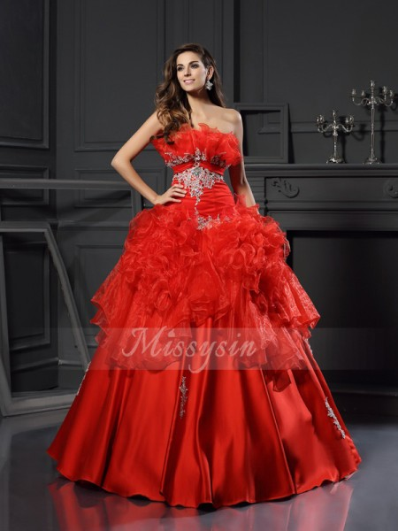 Ball Gown Strapless Organza Floor-Length Ruffles Sleeveless Dress