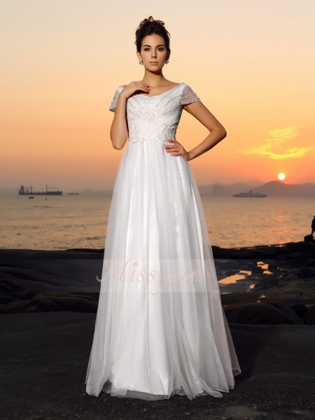 A-Line/Princess Off-the-Shoulder Tulle Floor-Length Beading Short Sleeves Wedding Dress