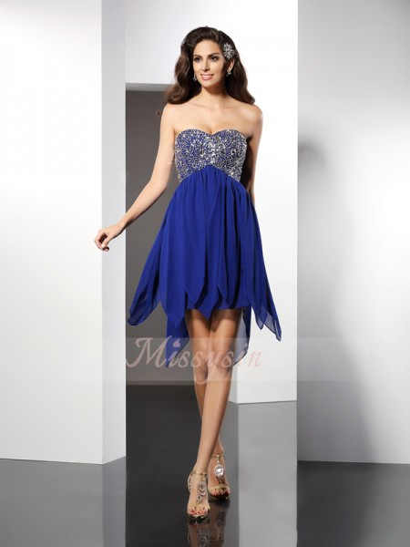 A-Line/Princess Sweetheart Chiffon Short/Mini Beading Sleeveless Dress