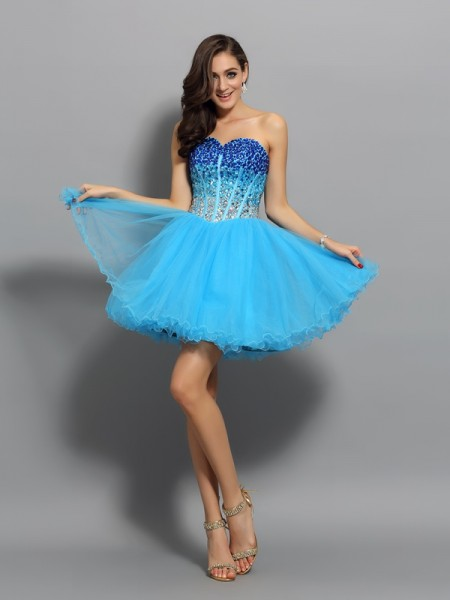 A-Line/Princess Sweetheart Satin Short/Mini Ruffles Sleeveless Dress