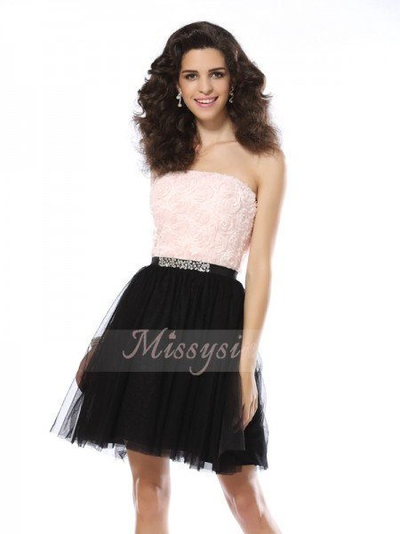 A-Line/Princess Strapless Tulle Short/Mini Sleeveless Dress