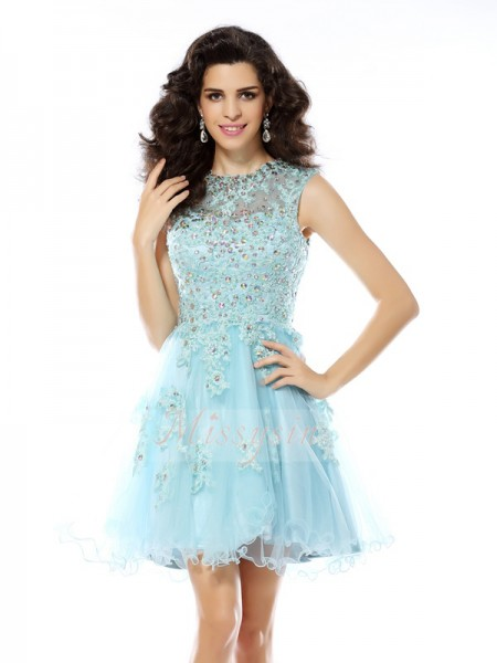 A-Line/Princess Scoop Satin Short/Mini Beading,Applique Sleeveless Dress