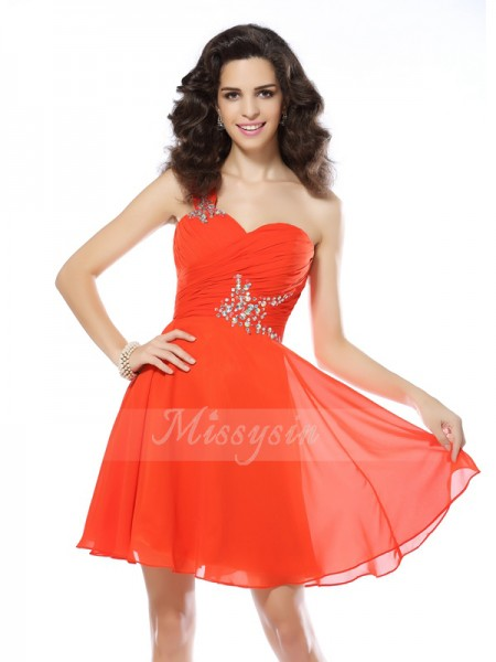 A-Line/Princess One-Shoulder Chiffon Short/Mini Beading Sleeveless Dress
