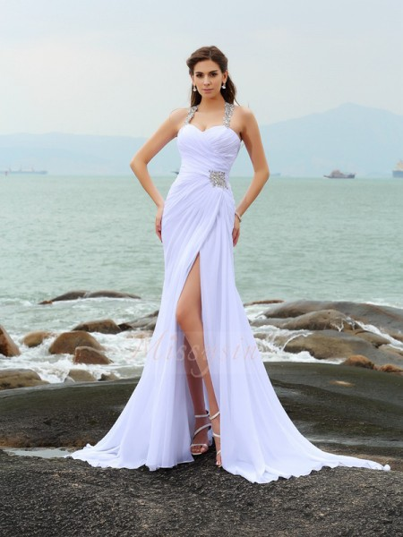 Sheath/Column Straps Chiffon Chapel Train Beading Sleeveless Wedding Dresses