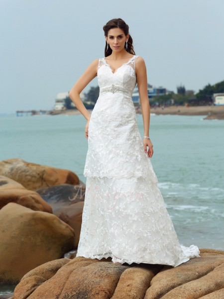 A-Line/Princess Straps Satin Chapel Train Applique Sleeveless Wedding Dresses