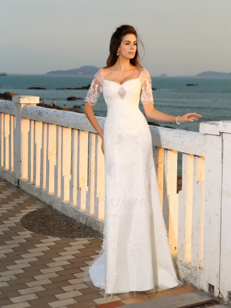 Sheath/Column Sweetheart Satin Floor-Length Applique Short Sleeves Wedding Dresses