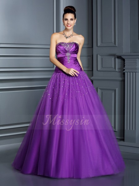 Ball Gown Strapless Taffeta Floor-Length Sleeveless Dresses