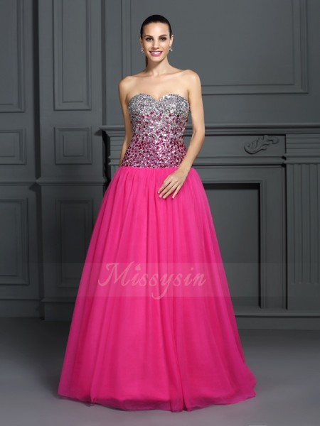 Ball Gown Sweetheart Organza Floor-Length Sleeveless Dresses