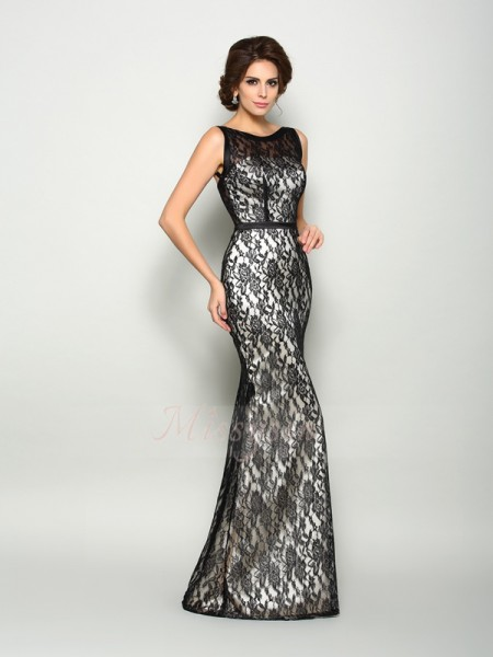 Trumpet/Mermaid Bateau Elastic Woven Satin Floor-Length Lace Sleeveless Mother Of The Bride Dresses
