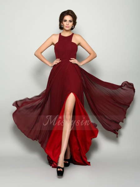 A-Line/Princess High Neck Chiffon Sweep/Brush Train Ruched Sleeveless Mother Of The Bride Dresses