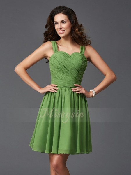A-Line/Princess Silk like Satin Straps Sleeveless Ruffles Short/Mini Bridesmaid Dresses