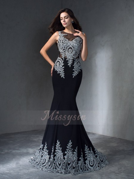 Trumpet/Mermaid Chiffon Scoop Sleeveless Applique Sweep/Brush Train Dresses