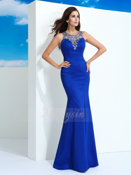 Sheath/Column Chiffon Sheer Neck Sleeveless Beading Floor-Length Dresses