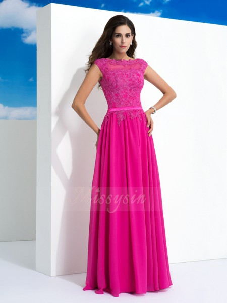 A-Line/Princess Chiffon Sheer Neck Sleeveless Floor-Length Dresses