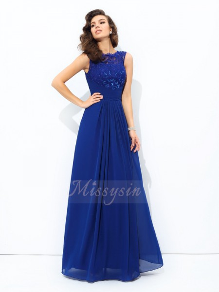 A-line/Princess Chiffon Scoop Sleeveless Floor-length Dresses