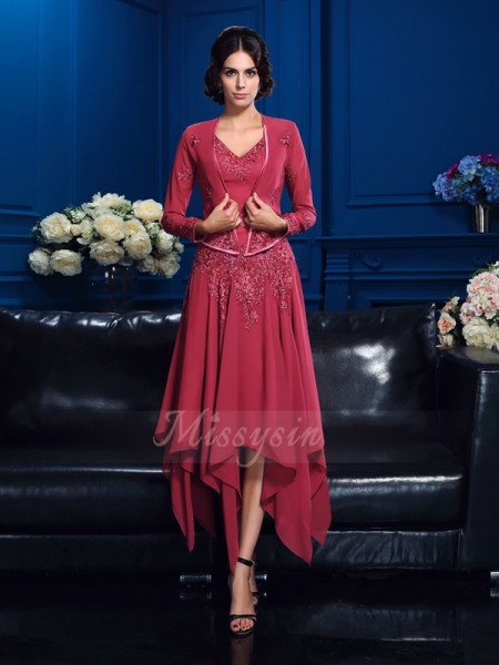 A-Line/Princess Chiffon V-neck Sleeveless Applique Asymmetrical Mother of the Bride Dresses