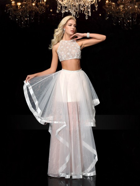 A-Line/Princess Tulle Scoop Sleeveless Applique Floor-Length Dresses