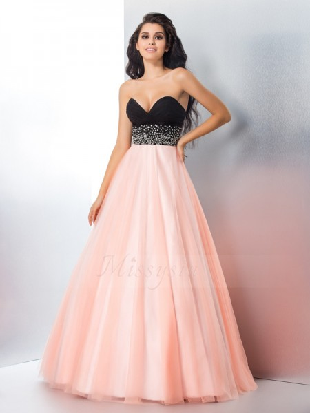 Ball Gown Satin Sweetheart Sleeveless Beading Floor-Length Dresses