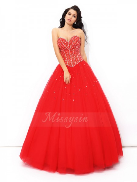 Ball Gown Net Sweetheart Sleeveless Beading Floor-Length Quinceanera Dresses