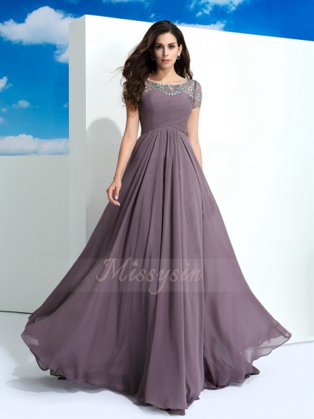 A-Line/Princess Chiffon Sheer Neck Short Sleeves Beading Floor-Length Dresses