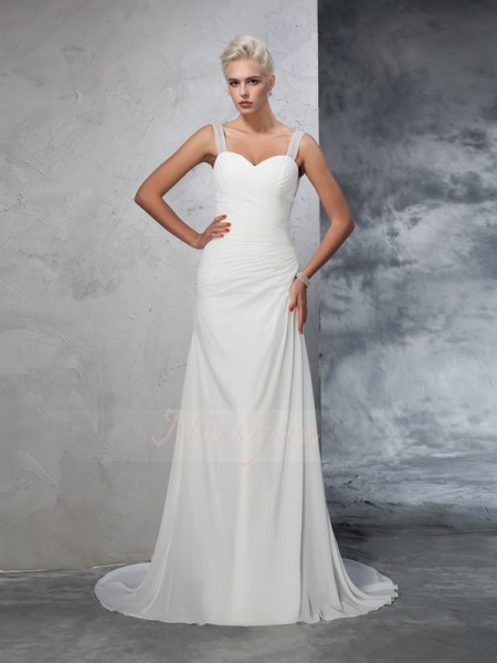 Trumpet/Mermaid Chiffon Straps Sleeveless Ruched Court Train Wedding Dresses