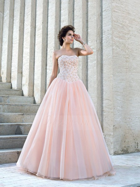 Ball Gown Satin Strapless Sleeveless Beading Floor-Length Wedding Dresses