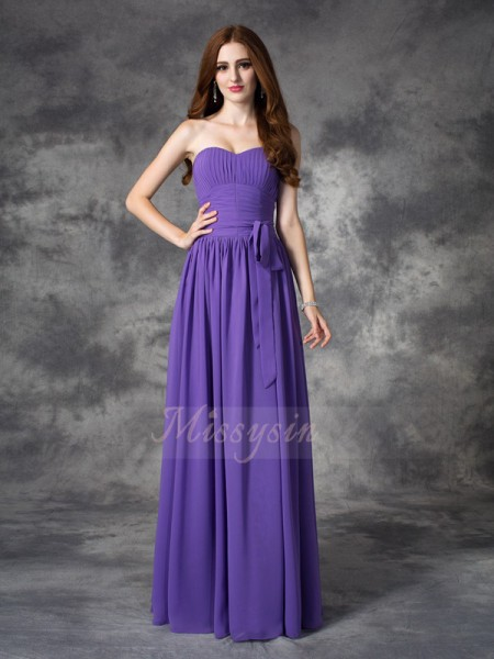 A-line/Princess Chiffon Sweetheart Sleeveless Ruffles Floor-length Bridesmaid Dresses