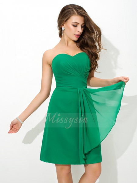 Sheath/Column Chiffon Sweetheart Sleeveless Pleats Short/Mini Bridesmaid Dresses