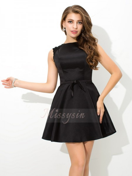 A-Line/Princess Satin High Neck Sleeveless Sash/Ribbon/Belt Short/Mini Cocktail Dresses