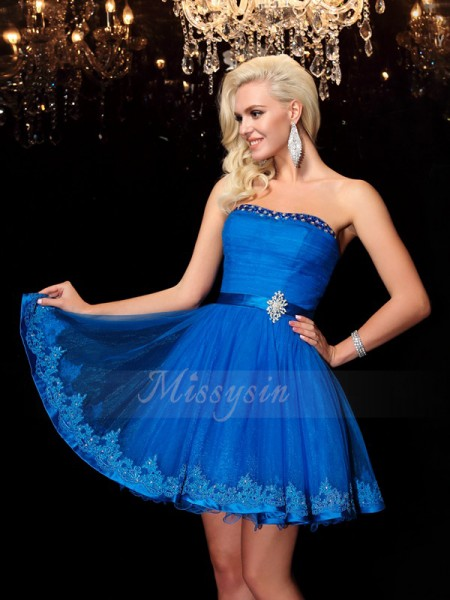A-Line/Princess Net Strapless Sleeveless Beading Short/Mini Cocktail Dresses
