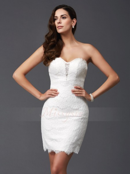 Sheath/Column Lace Sweetheart Sleeveless Short/Mini Cocktail Dresses