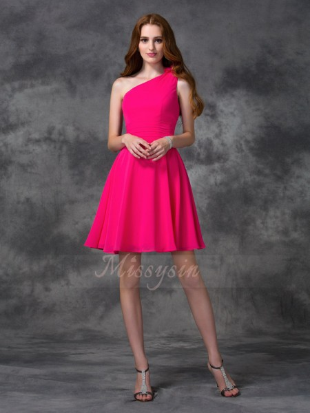 A-line/Princess Chiffon One-Shoulder Sleeveless Hand-Made Flower Short/Mini Cocktail Dresses