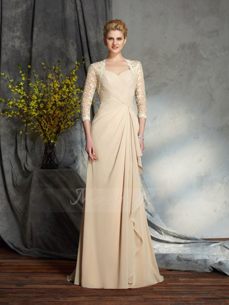 A-Line/Princess Chiffon Sweetheart 3/4 Sleeves Sweep/Brush Train Mother of the Bride Dresses