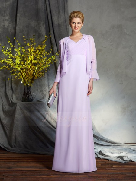 Sheath/Column Chiffon V-neck Sleeveless Applique Floor-Length Mother of the Bride Dresses
