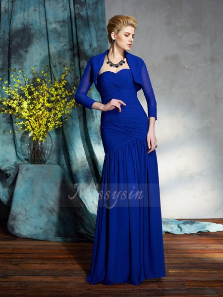Sheath/Column Chiffon Sweetheart Sleeveless Pleats Floor-Length Mother of the Bride Dresses