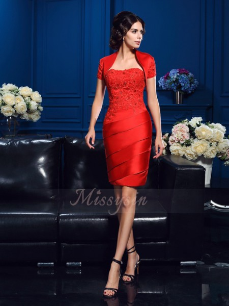 Sheath/Column Satin Sweetheart Sleeveless Beading Short/Mini Mother of the Bride Dresses