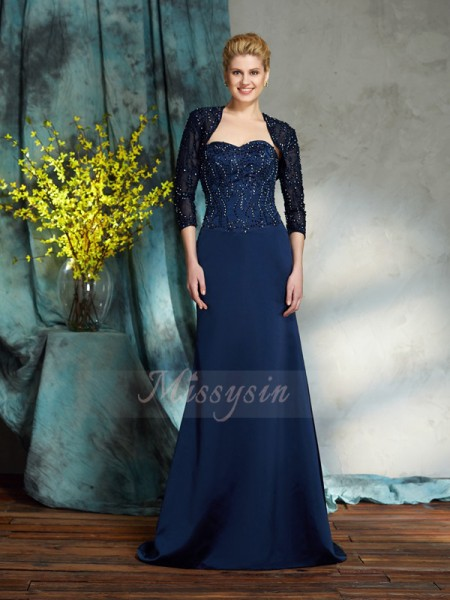 Sheath/Column Satin Sweetheart Sleeveless Sequin Floor-Length Mother of the Bride Dresses