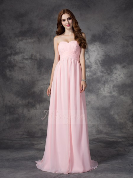 A-line/Princess Chiffon Sweetheart Sleeveless Ruched Sweep/Brush Train Dresses