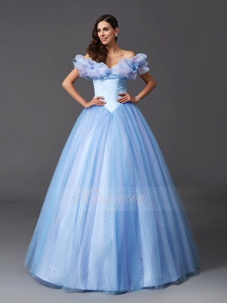 Ball Gown Net Off-the-Shoulder Sleeveless Beading Floor-Length Dresses