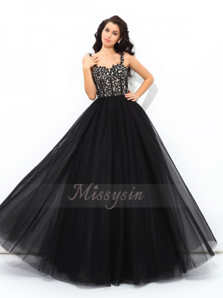 Ball Gown Net Straps Sleeveless Applique Floor-Length Quinceanera Dresses