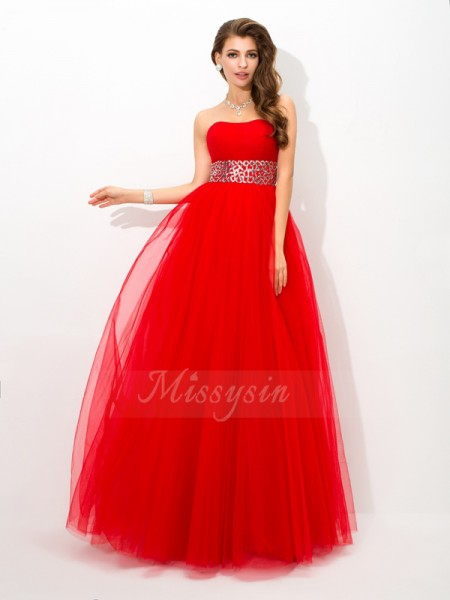 Ball Gown Net Strapless Sleeveless Beading Floor-Length Dresses