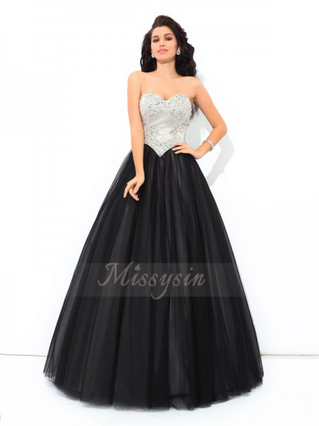 Ball Gown Net Sweetheart Sleeveless Paillette Floor-Length Quinceanera Dresses