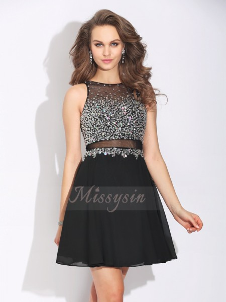 A-Line/Princess Chiffon Jewel Sleeveless Beading Short/Mini Dresses