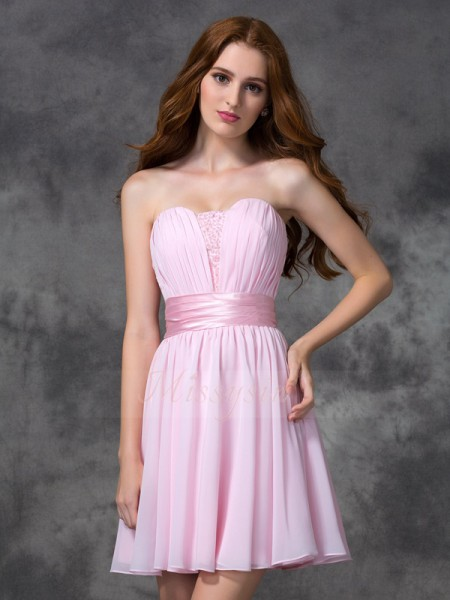 A-line/Princess Chiffon Sweetheart Sleeveless Ruched Short/Mini Dresses