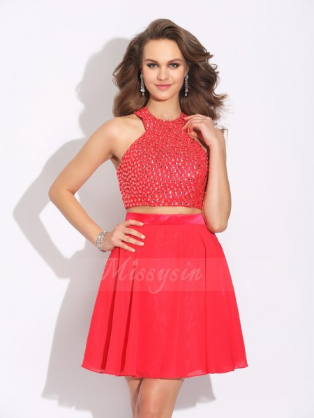 A-Line/Princess Chiffon Jewel Sleeveless Crystal Short/Mini Dresses