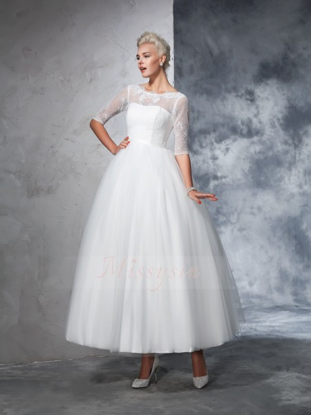 Ball Gown Net Bateau 1/2 Sleeves Ankle-Length Wedding Dresses