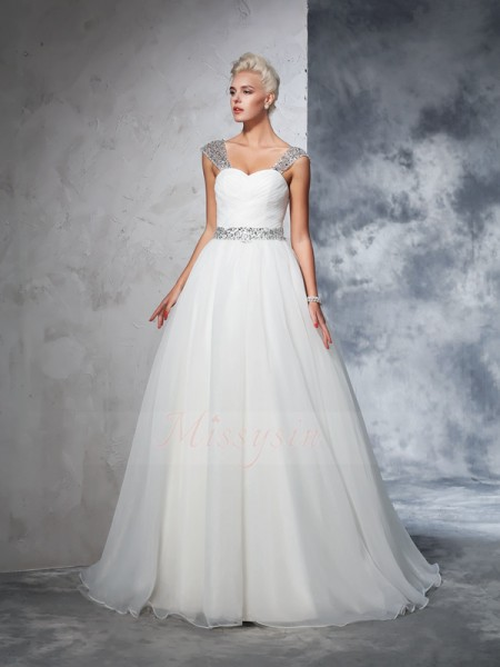 Ball Gown Net Straps Sleeveless Ruched Chapel Train Wedding Dresses