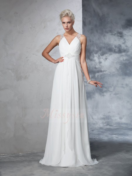 A-Line/Princess Chiffon V-neck Sleeveless Ruched Sweep/Brush Train Wedding Dresses